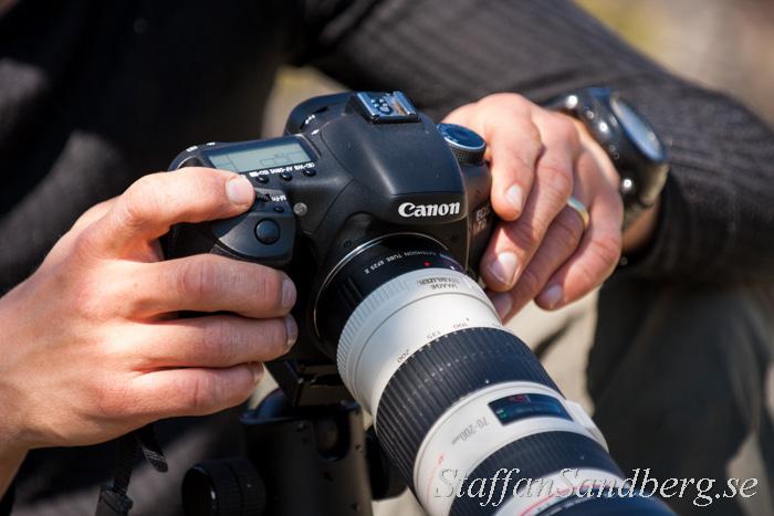 Canon 7D med 70-200 mm och mellanring