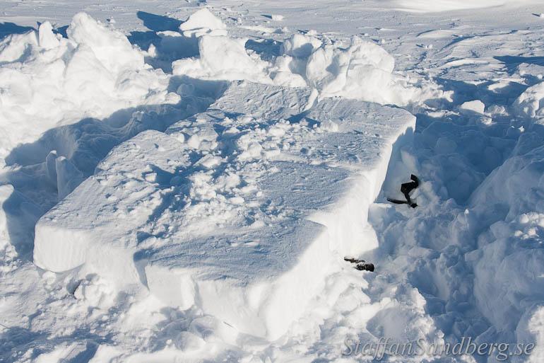 Snögrop med snöblock